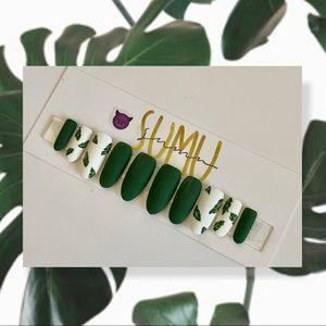 HANDPAINTED MATTE PLANT GEL PRESS ON NAILS